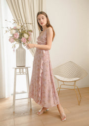 Billow Floral Wrap Maxi Dress (Dusty Pink)