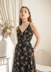 Billow Floral Wrap Maxi Dress (Black)