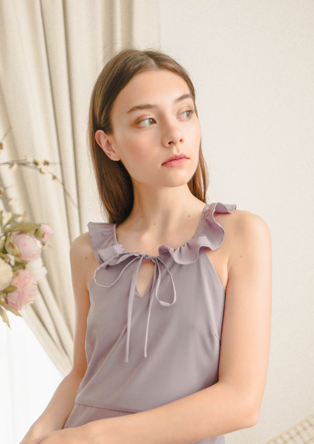 Tidal Ruffle Tie Midi Dress (Lilac)