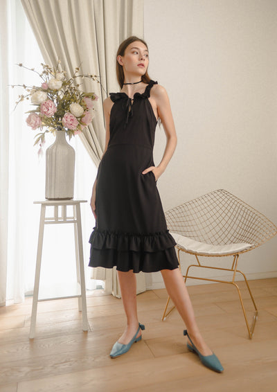 Tidal Ruffle Tie Midi Dress (Black)