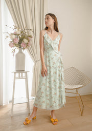 Billow Floral Wrap Maxi Dress (Mint)