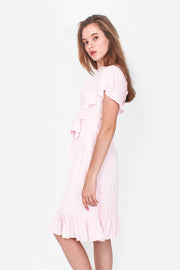 Flutter Midi Dress (Daisy Pink)