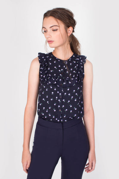 Faith Ruffles Top (Navy)