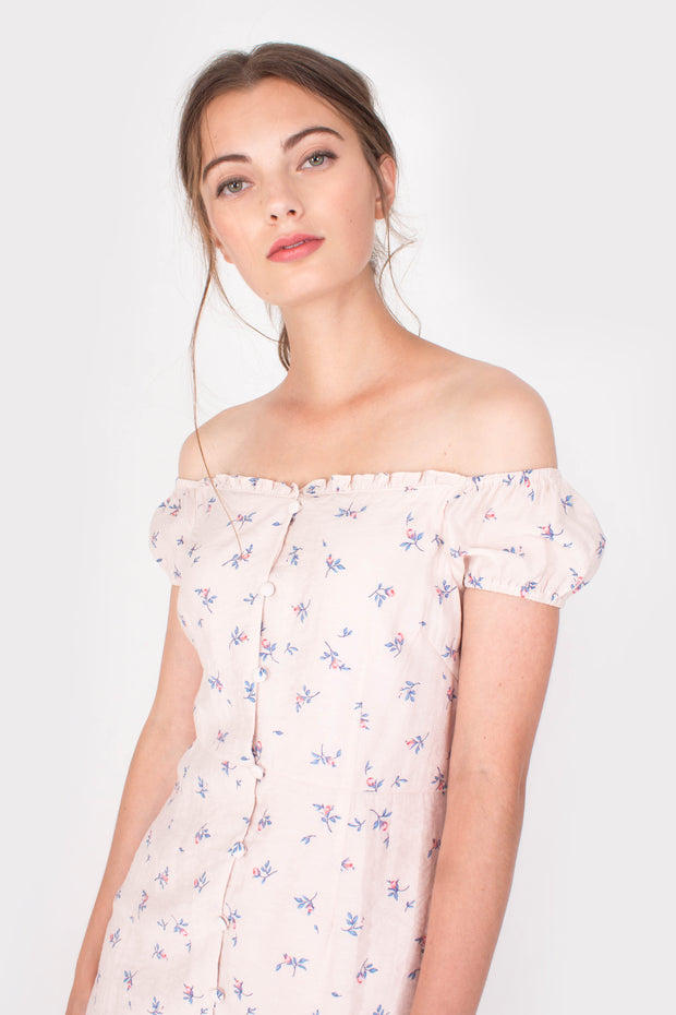 Grace Off-shoulder Mini Dress (Pink)