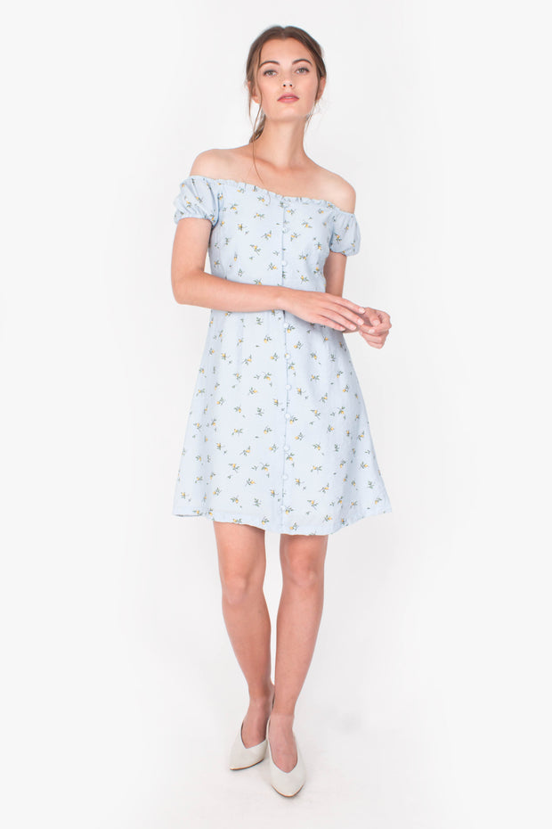 Grace Off-shoulder Mini Dress (Blue)