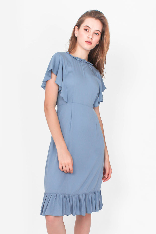 Flutter Midi Dress (Dusty Blue)