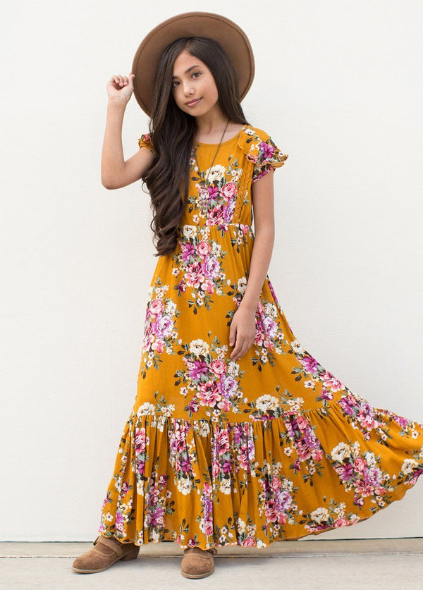 *NEW* Abigail Dress in Mustard Floral