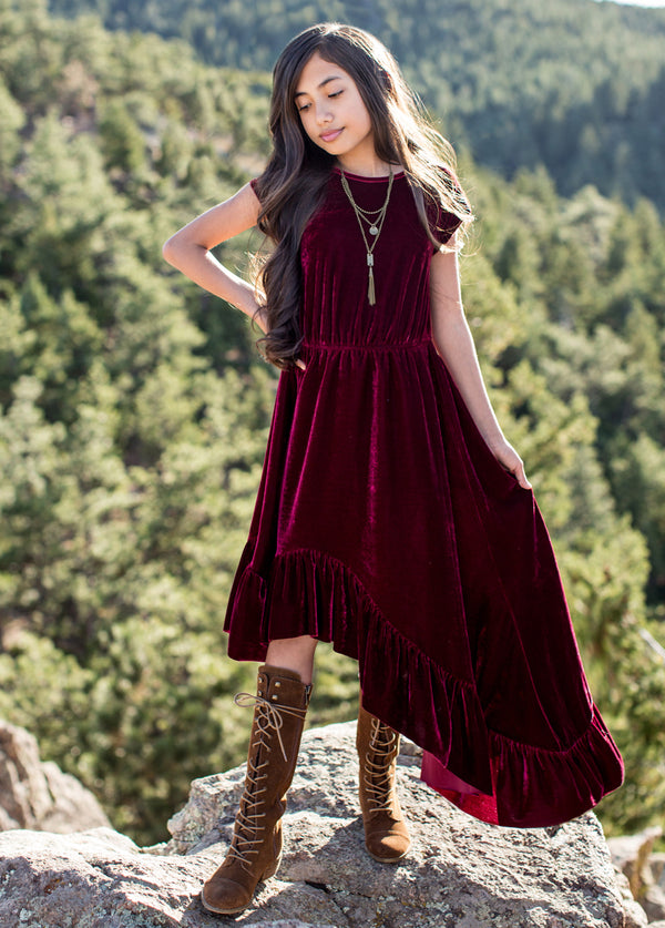 Aleena Dress in Burgundy Velvet