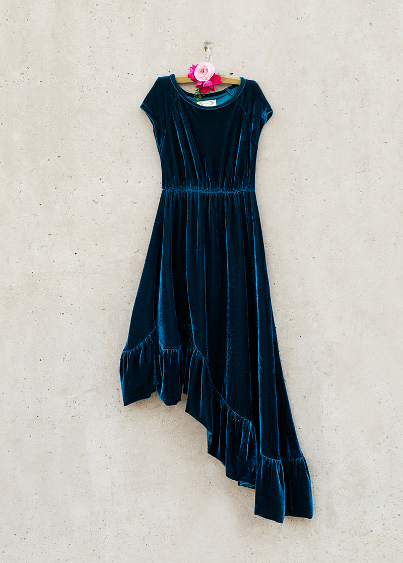 Aleena Dress in Teal Velvet