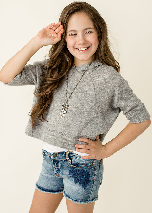 *Andra Cropped Sweatshirt in Heather Grey*