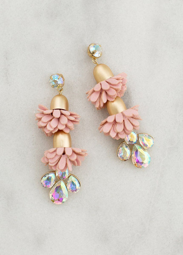 Angelina Earrings in Dusty Rose