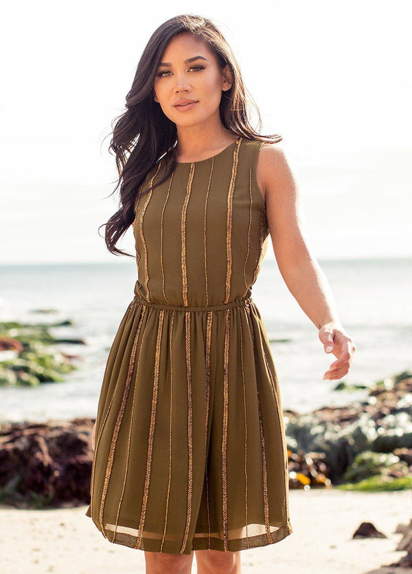 Anya Dress in Olive and Gold