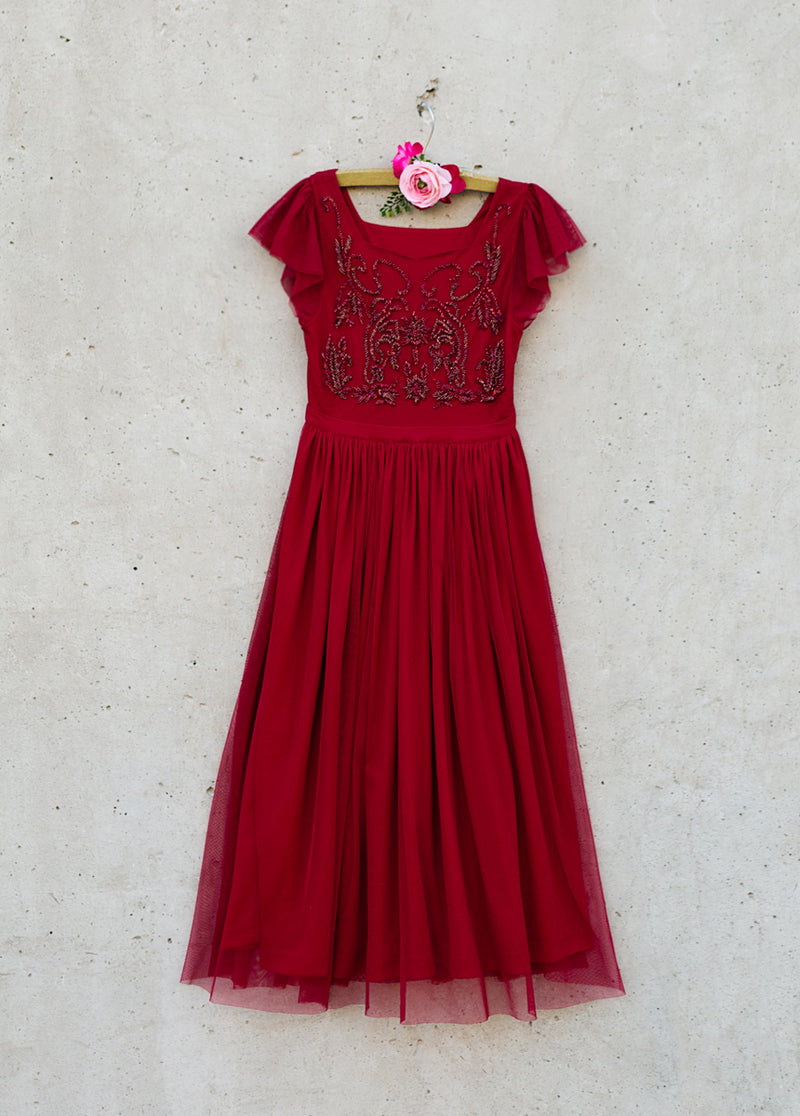 Arwen Maxi Dress in Crimson