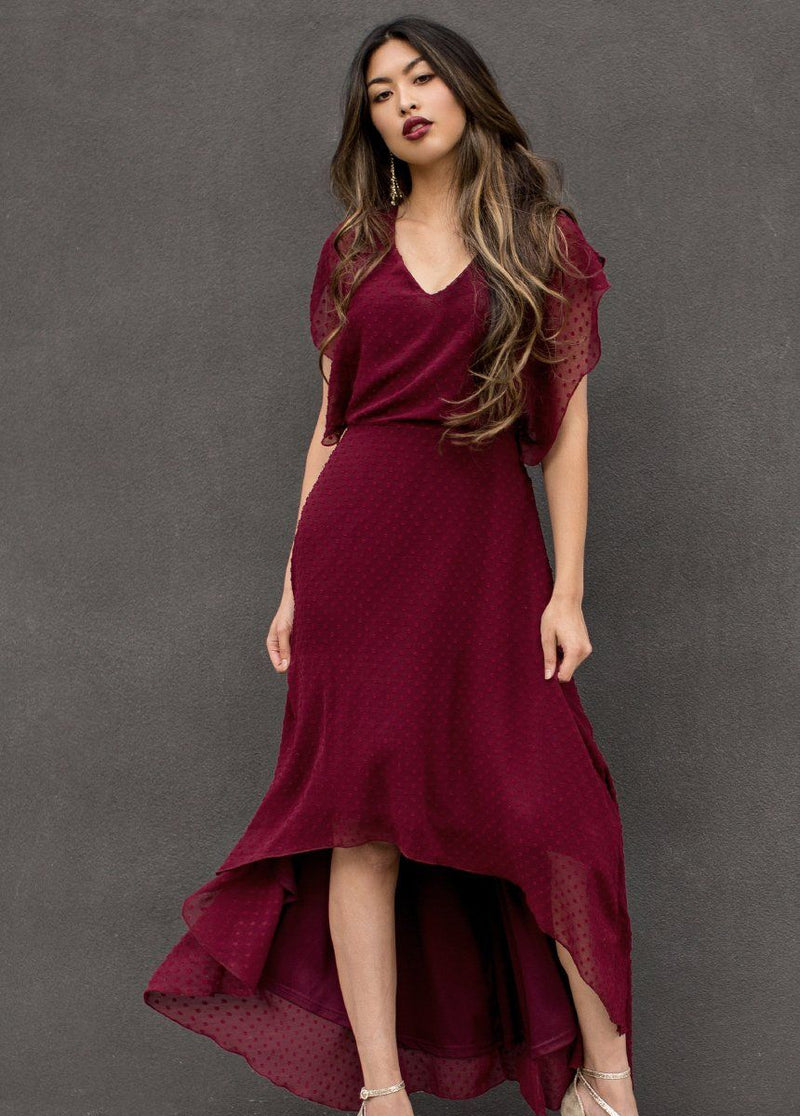 Athena Dress in Bordeaux