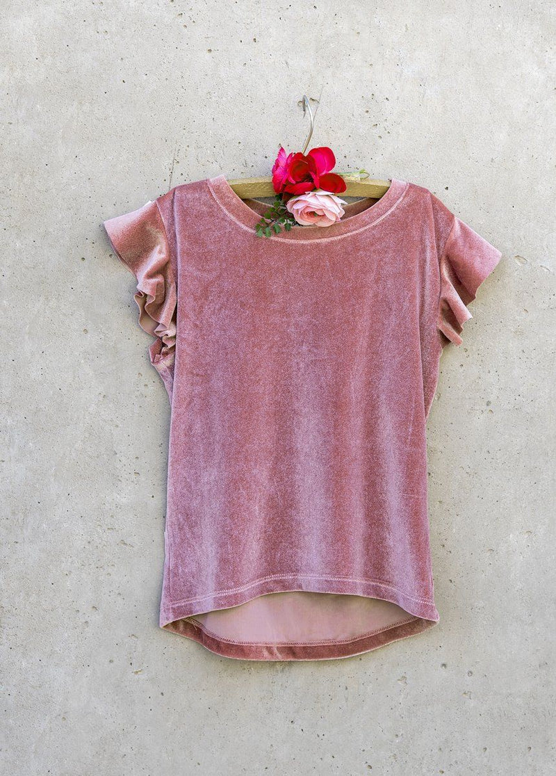 Becca Velvet Top in Dusty Rose