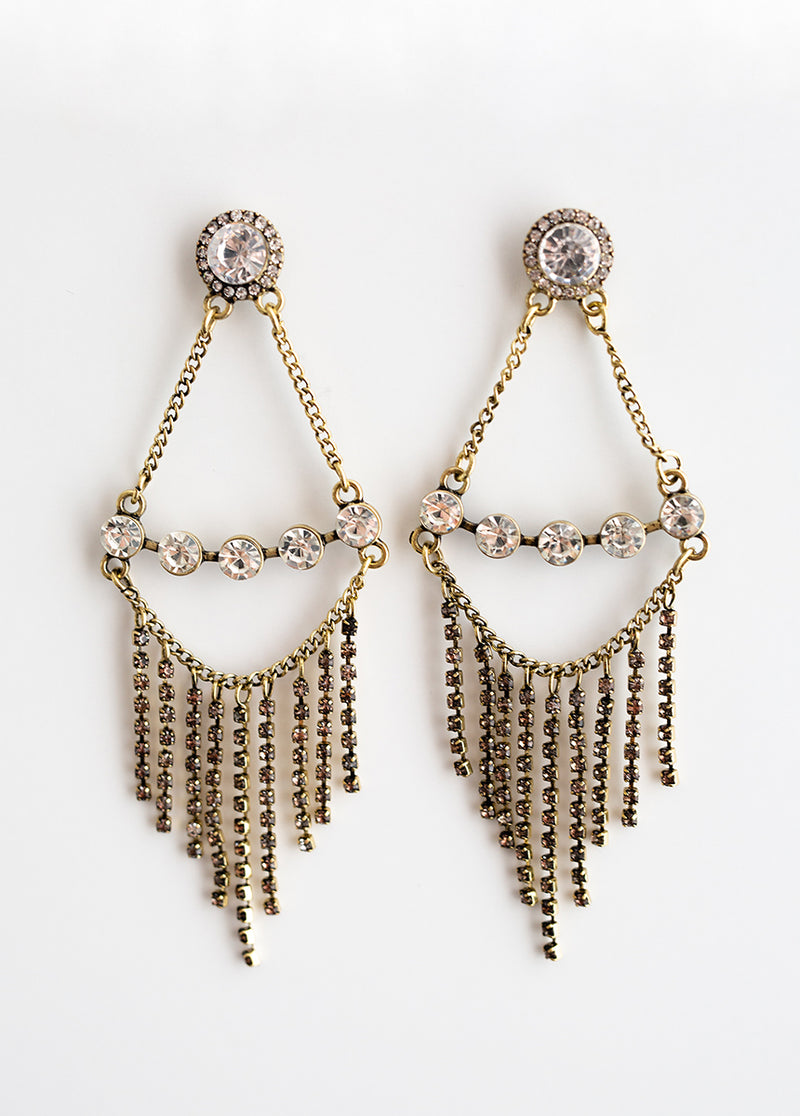 Bella Earrings in Antique Brass