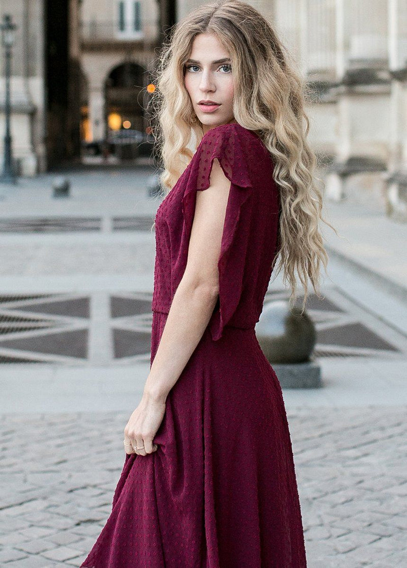 *NEW* Athena Dress in Bordeaux