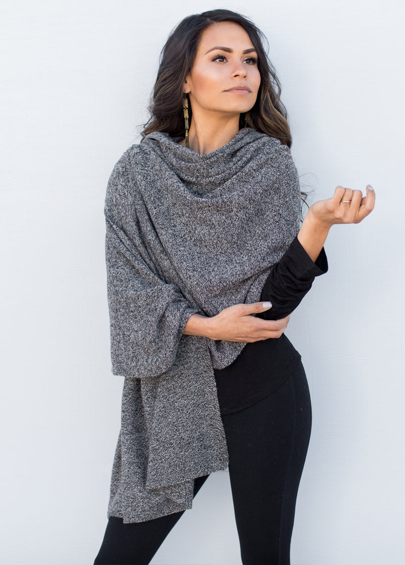*NEW* Camilla Cashmere Wrap in Heathered Black