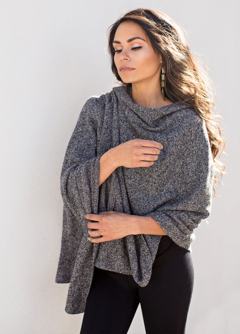 Camilla Cashmere Wrap in Heathered Black