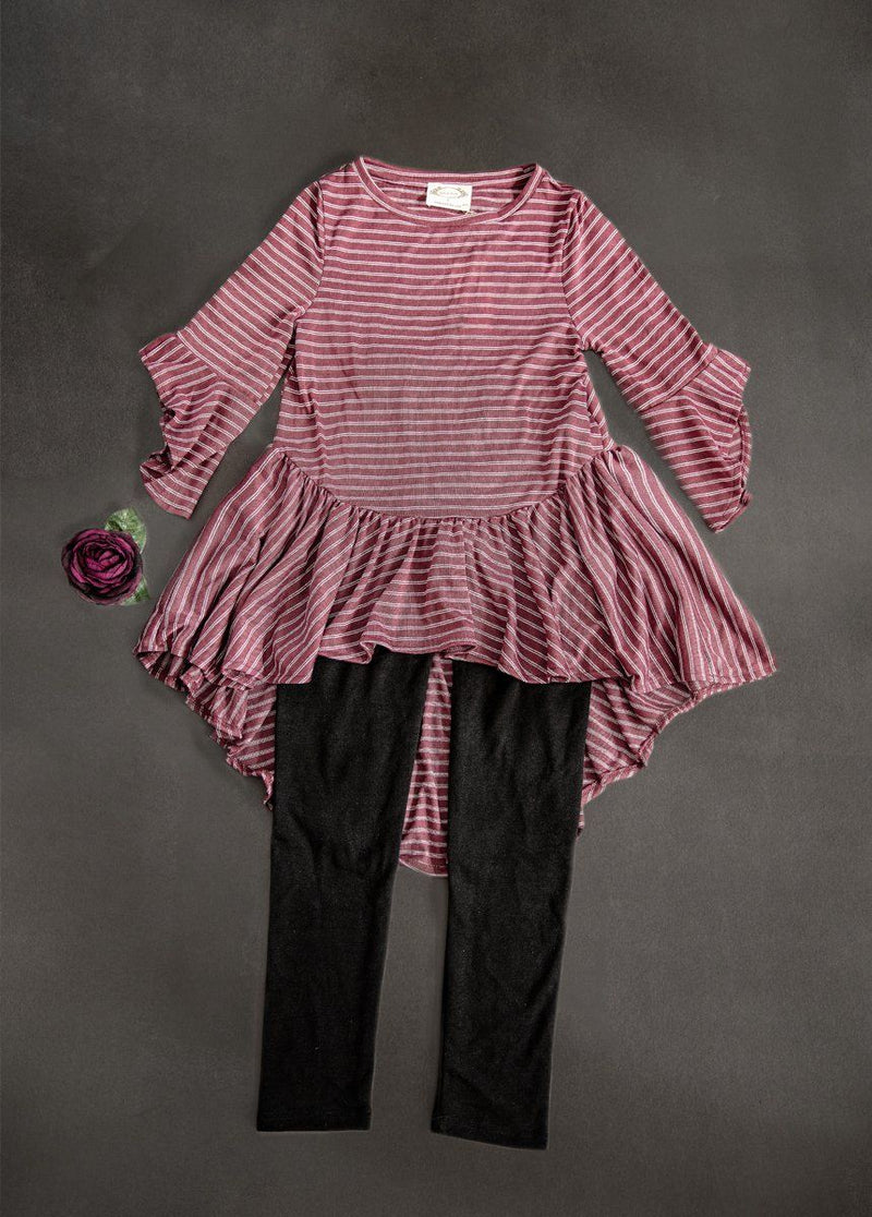 Clementine Set in Burgundy Stripe