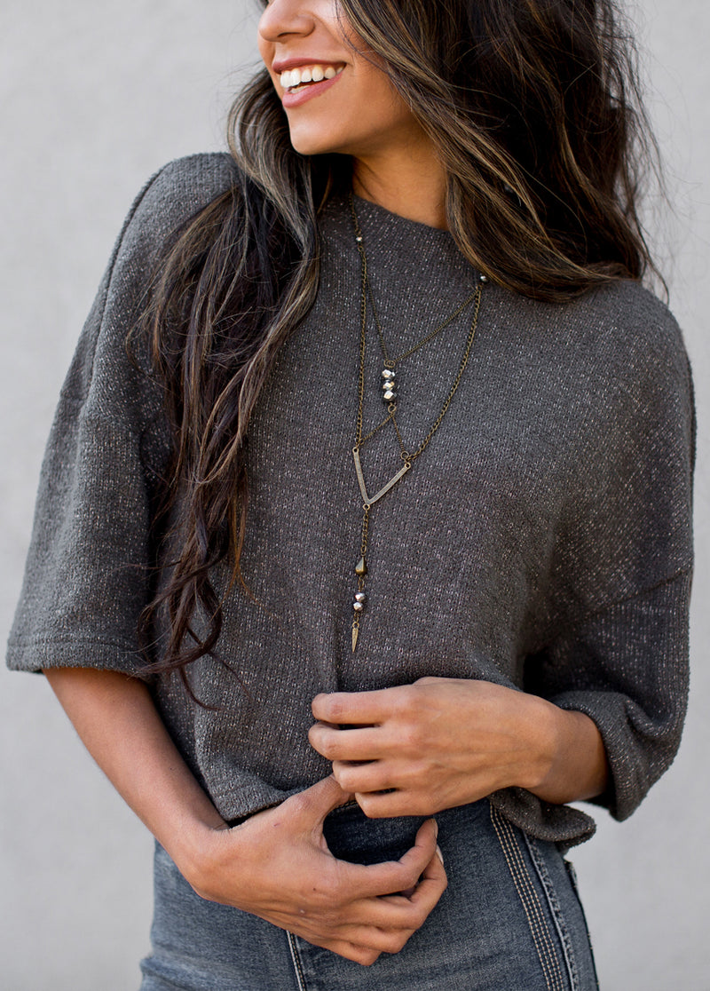 Dina Top in Gunmetal