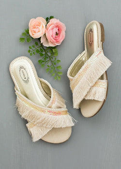 Deandra Fringe Slide in Cream