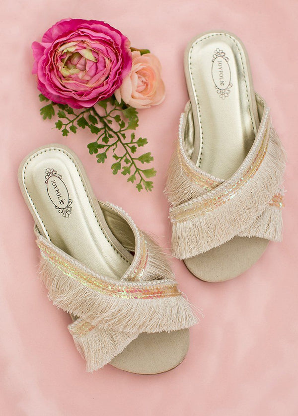 *NEW* Deandra Fringe Slide in Cream