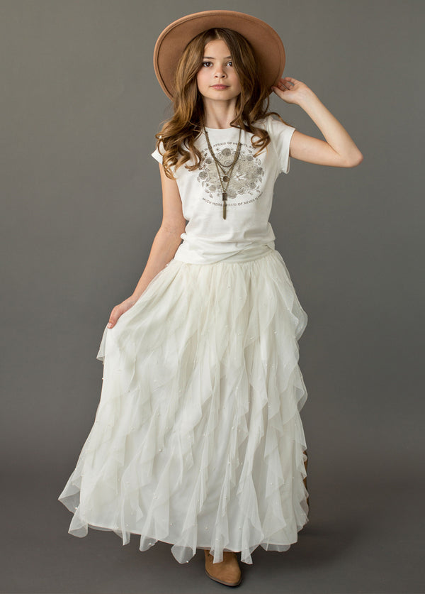 Evaline Pearl Skirt in Cream