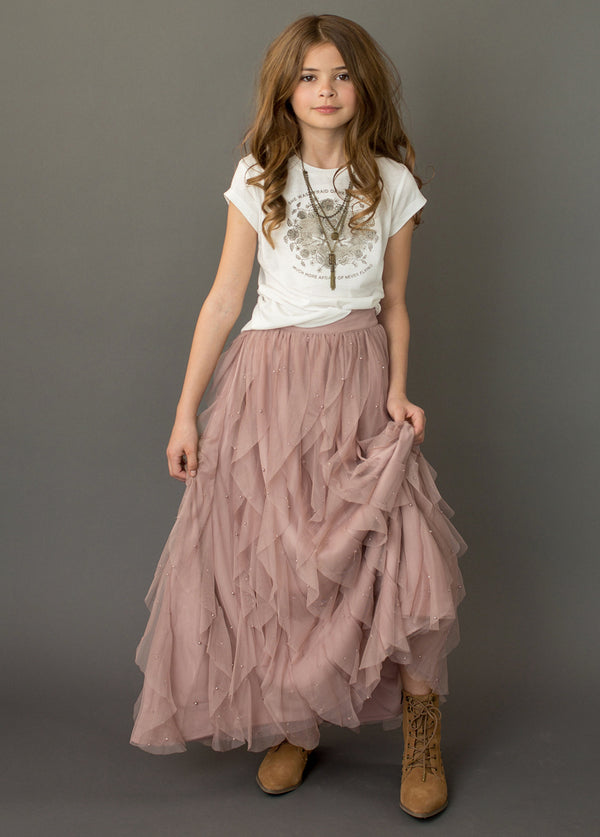 Evaline Pearl Skirt in Mauve