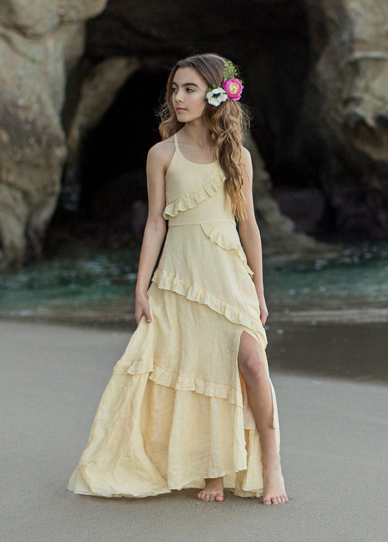 Fae Midi Dress in Banana Crepe