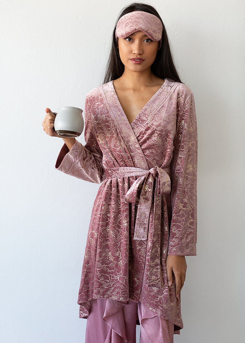 *NEW* Gina Velvet Robe in Dusty Rose