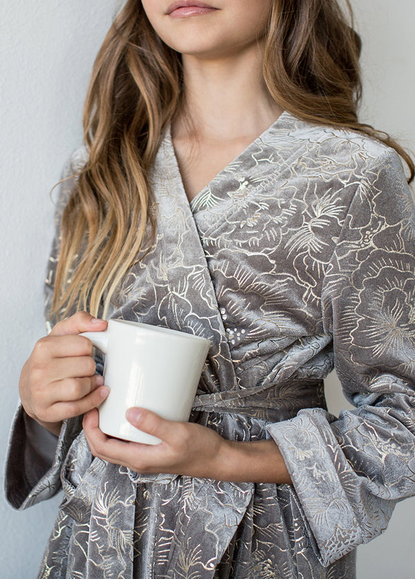 *NEW* Ginny Velvet Robe in Silver Birch