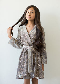 Ginny Velvet Robe in Silver Birch