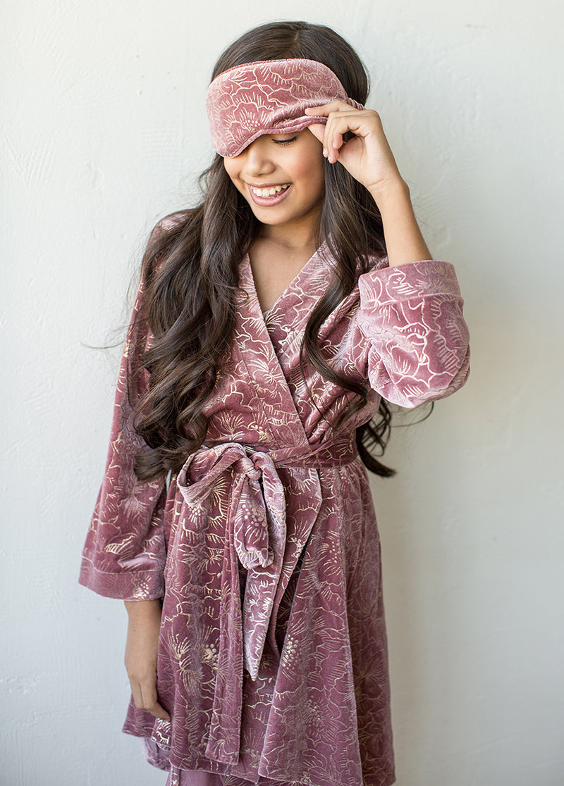 Ginny Velvet Robe in Dusty Rose