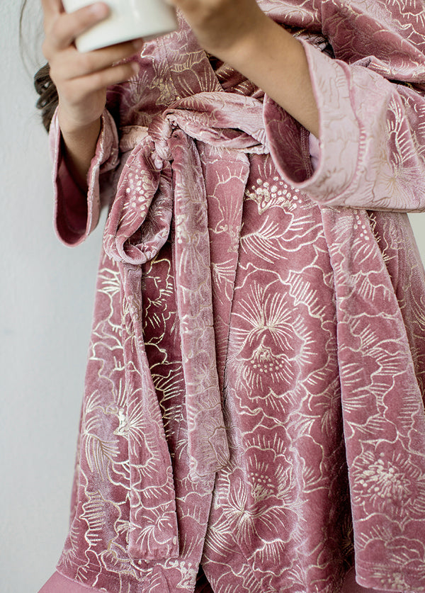 *NEW* Ginny Velvet Robe in Dusty Rose