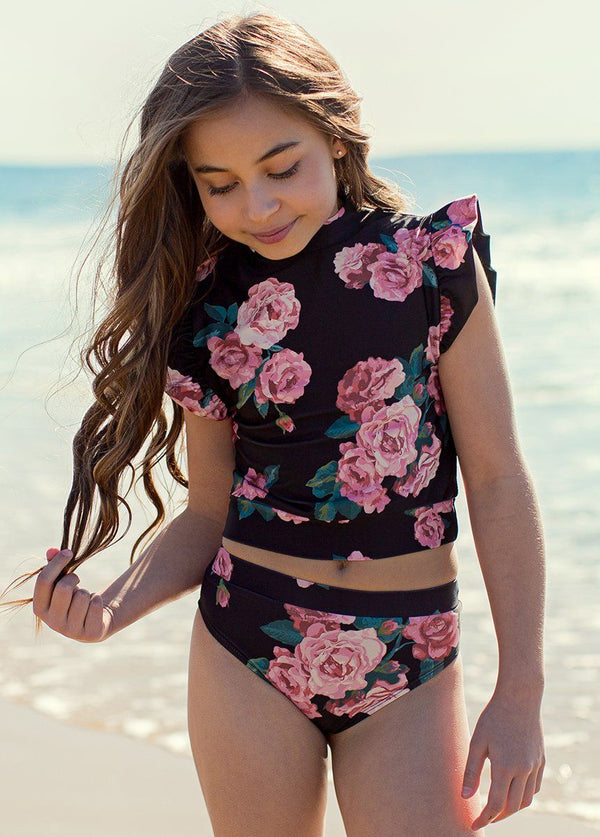 Halley Two-Piece Swimsuit in Black Floral