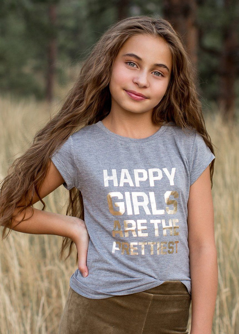 *NEW* Happy Girls' Tee in Gray