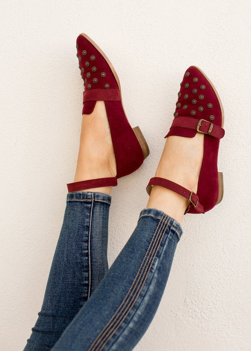 Harlow Flat in Burgundy