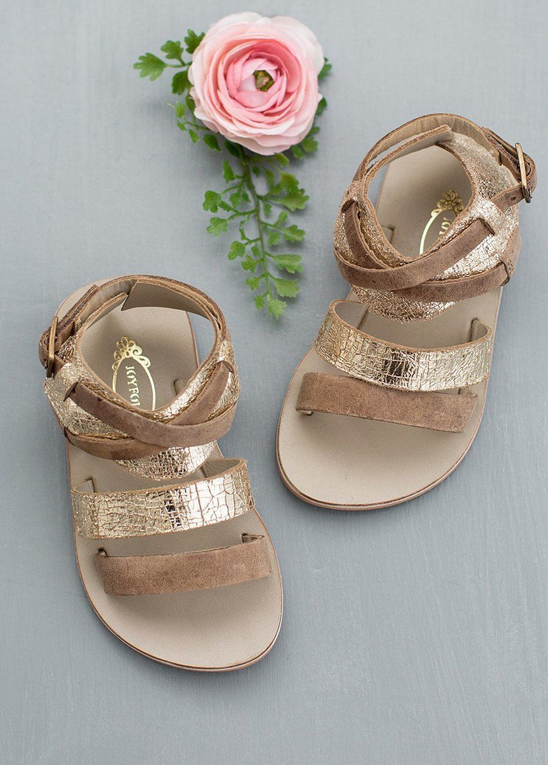 Harper Leather Sandals in Gold