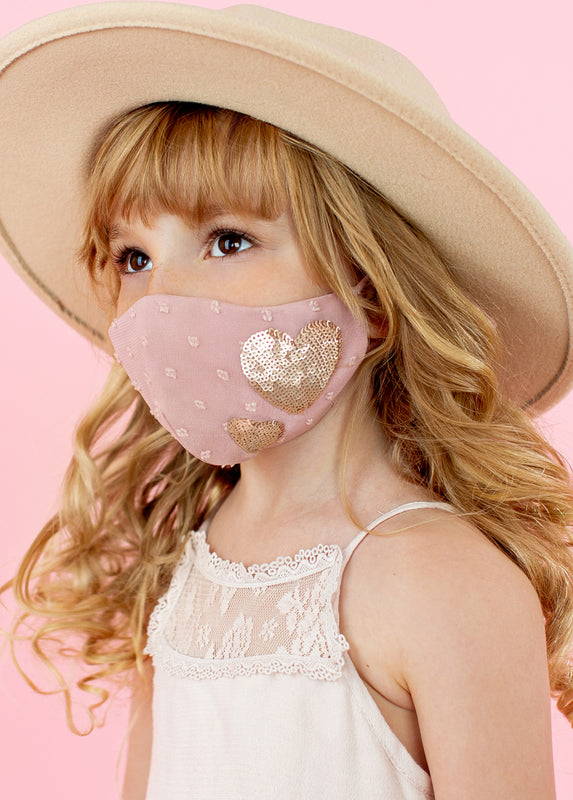Heart Mask in Dusty Pink