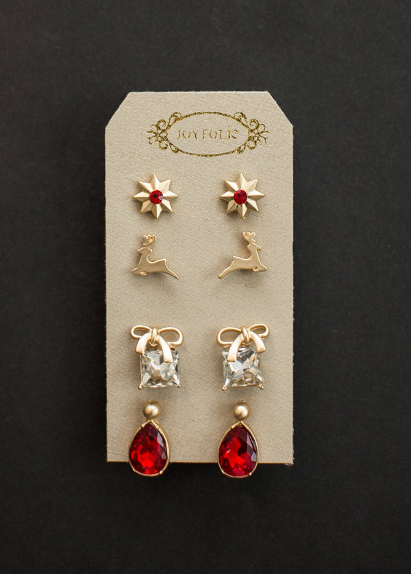 Holiday Earring Set in Red