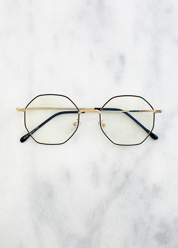 Imari Blue Light Glasses in Gold Black