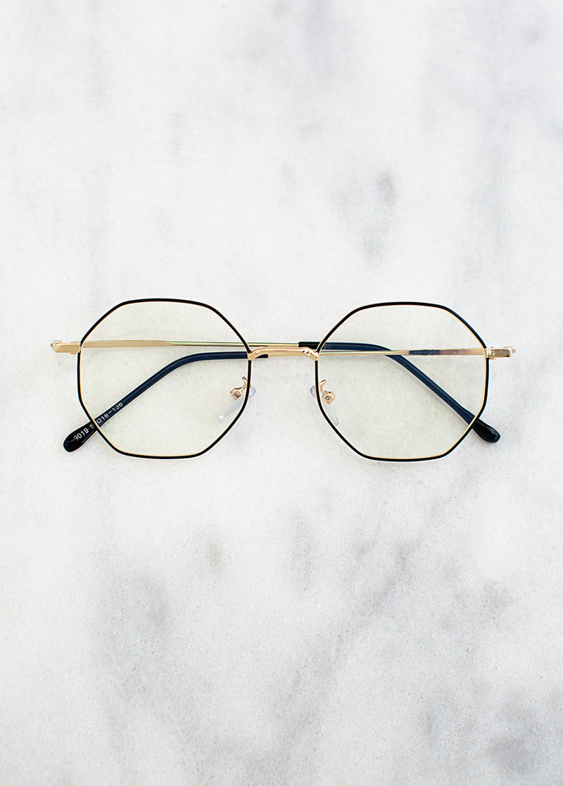 *SOLD OUT* Imari Blue Light Glasses in Gold Black