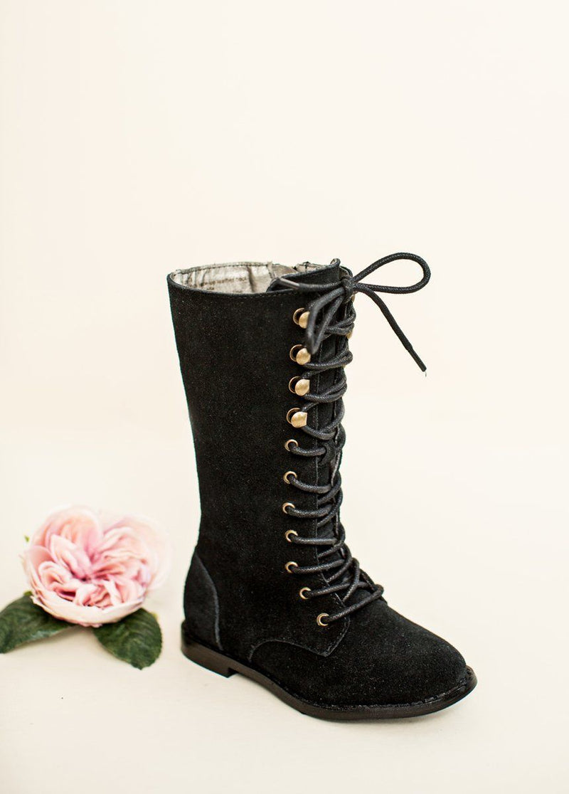 Indy Lace-Up Leather Boot in Black
