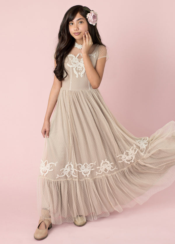 Jolie Maxi Dress in Tan