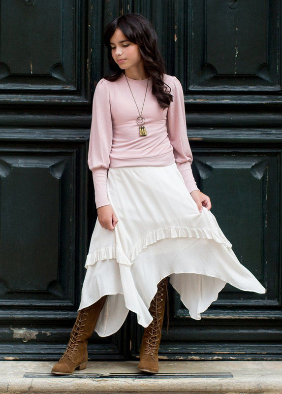 Justine Midi Skirt in Ecru