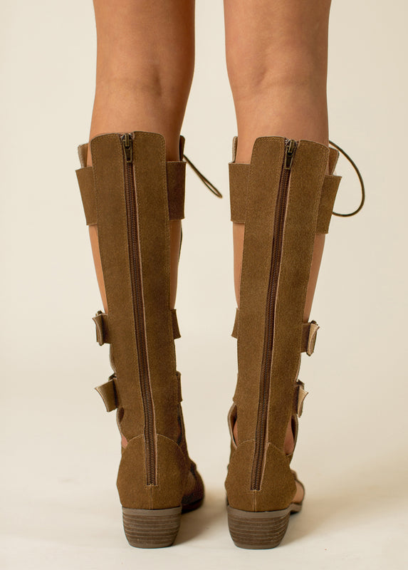 Keilani Gladiator Boot in Brown
