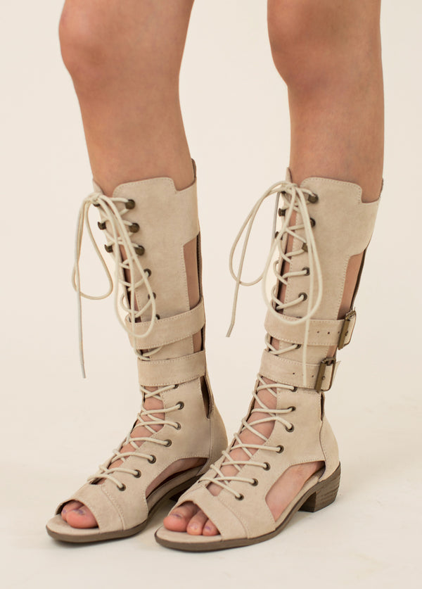 Kiki Gladiator Boot in Taupe