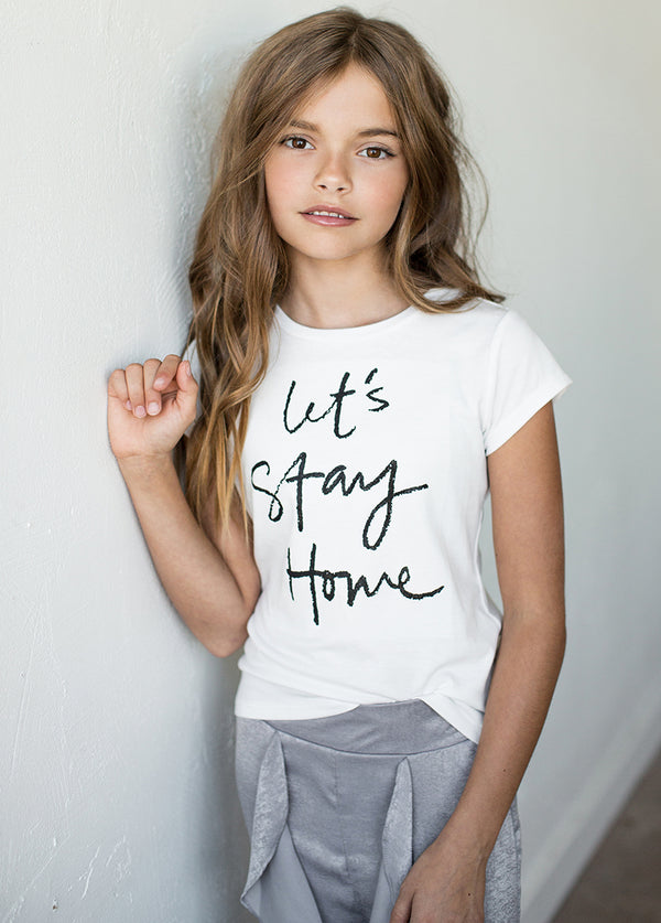 Let's Stay Home Tee in Cream