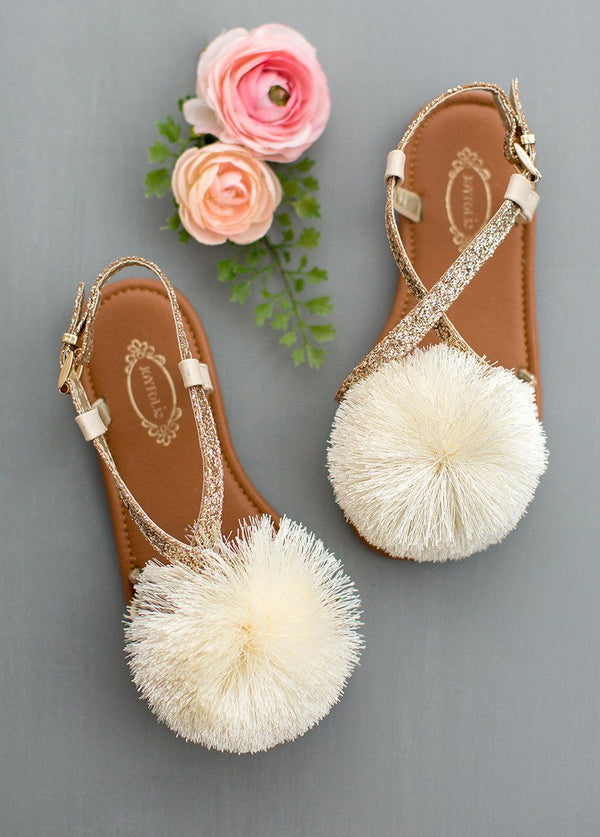 Lilah Pom Sandals in Gold